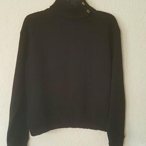 ZARA  NWOT Black Button-Up Turtleneck Knitwear